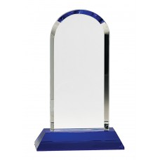 CRY273   Clear Crystal Dome on Blue Pedestal Base